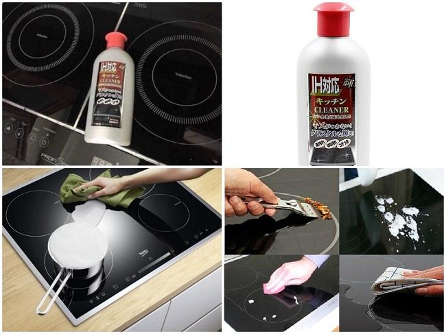 sử dụng dung dịch tẩy rửa để vệ sinh bếp từ